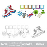 Vector game. Search the word. Find hidden word Skates Stock Photos