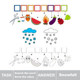 Vector game. Search the word. Find hidden word Snowfall Royalty Free Stock Photo