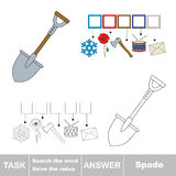 Vector game. Search the word. Find hidden word Spade Royalty Free Stock Photo