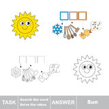 Vector game. Search the word. Find hidden word Sun Stock Photo