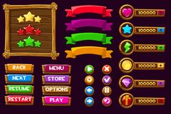 Vector game ui kit. Complete menu of graphical user interface GUI to build 2D games. Can be used in mobile or web games. Wooden buttons and icons royalty free illustration