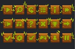 Vector game ui kit. Set of wooden square buttons for graphical user interface GUI and 2D games. royalty free illustration