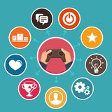 Vector gamification concept in flat style Stock Photo