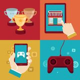 Vector gamification concepts - flat app icons Stock Photos