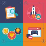 Vector gamification process Stock Images