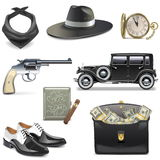 Vector Gangster Icons. On white background Royalty Free Stock Photography