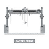 Vector gantry crane in flat style Royalty Free Stock Image