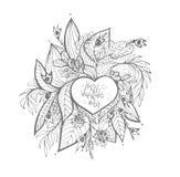 Vector Garabatos incompletos del amor y de los corazones Fotografía de archivo