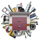 Vector Garage with Car Spares Royalty Free Stock Photos