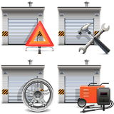 Vector Garage with Spares and Tools Royalty Free Stock Image