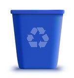 Vector garbage can recycle. Detailed illustration blue garbage can recycle Stock Image