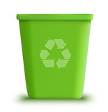 Vector garbage can recycle. Detailed illustration green  garbage can recycle Royalty Free Stock Photo