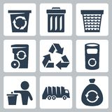 Vector garbage icons set Stock Photography