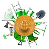 Vector Garden Accessories with Straw Hat Stock Photos