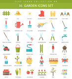 Vector garden color flat icon set. Elegant style design Royalty Free Stock Images