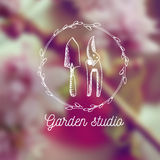 Vector garden emblem and logo design template. Garden studio - vintage illustration with hand drawn elements. Royalty Free Stock Photo