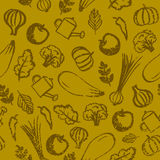 Vector garden, farm, vegetables and fruit seamless patter. Eco, organic healthy food background. Stock Photos