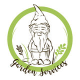 Vector garden gnome.For garden services logo Royalty Free Stock Image