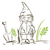 Vector garden gnome.For garden services logo Stock Photo