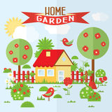 Vector garden illustration in flat style. Stock Images