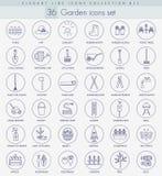 Vector garden outline icon set. Elegant thin line style design Royalty Free Stock Photography