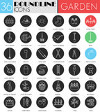Vector garden tools circle white black icon set. Modern line black icon design for web. Royalty Free Stock Images