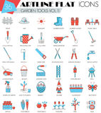 Vector Garden tools ultra modern outline artline flat line icons for web and apps. Stock Image