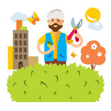 Vector Gardener in the city. Flat style colorful Cartoon illustration. Stock Photography