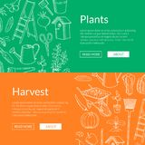 Vector gardening doodle icons horizontal web banners illustration. Vector gardening doodle icons horizontal web banners or poster illustration stock illustration