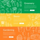 Vector gardening doodle icons horizontal web banners illustration. Vector gardening doodle icons horizontal web colored banners collection illustration vector illustration