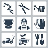 Vector gardening icons set Royalty Free Stock Images
