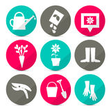 Vector Gardening Icons - Tools Set in Retro Style Royalty Free Stock Photo