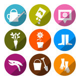 Vector Gardening Icons - Tools Set Stock Image