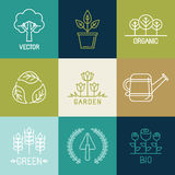 Vector gardening logo design elements Stock Image