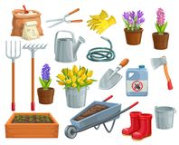 Gardening tools and flowers. Vector gardening tools and flowers icons. Rubber boots, seedling, tulips, gardening can and cutter. Fertilizer, glove, crocus royalty free illustration