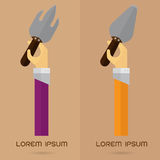 Vector Gardening Tools Shovel icon set arm and hand Royalty Free Stock Photography