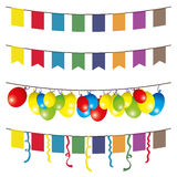 Vector garlands. Flags and balloons. Stock Images