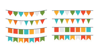 Vector garlands, flags of different forms Royalty Free Stock Images