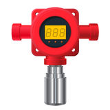 Vector gas detector. Red gas meter with digital LCD display. Vector gas detector. Red gas-meter with digital LCD display. Toxic sensor heater, adjustable values Royalty Free Stock Photography