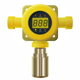 Vector gas detector. Yellow gas meter with digital LCD display. Low poly gas consumption when sensor heater with adjustable values. Safety sensor against Stock Images