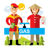 Vector Gas pipeline Russia - China. Flat style colorful Cartoon illustration. Royalty Free Stock Photo