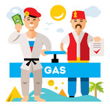 Vector Gas pipeline Russia - Turkey. Flat style colorful Cartoon illustration. Stock Photography