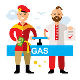 Vector Gas pipeline Russia - Ukraine. Flat style colorful Cartoon illustration. Royalty Free Stock Photography