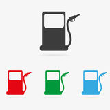 Vector gas station icon. Clean vector color set of gas or petrol station symbol icons Stock Photo