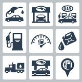 Vector gas station icons set Royalty Free Stock Image