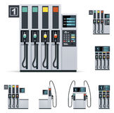 Vector gas station pumps set Stock Images