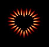 Vector gas stove with red flames. Forming heart vector illustration