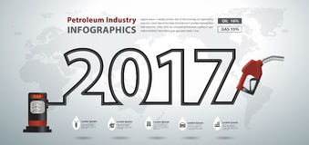 Vector gasoline pump nozzle creative design. Gasoline pump nozzle creative design, Fuel pump icon, Petrol station sign, Happy new year 2017 calendar cover Stock Images