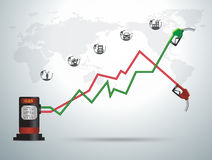 Vector gasoline pump nozzle gas station with business graph Royalty Free Stock Image