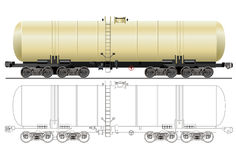 Vector gasoline tanker car. Hi-detail rail oil/gasoline tanker car. Isolated on white background [for branding] Available EPS-8 format royalty free illustration